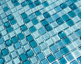Teal Mix Glass and Glitter Tiles - 1 cm - Shades of Dark and Light Teal - 100 Tiles