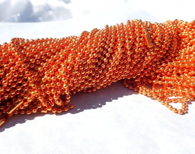 Orange Ball Chain Necklaces - 24 inch - 2.4mm Diameter - Set of 10