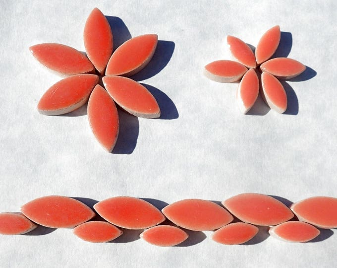 "Salmon Orange Pink Petals Mosaic Tiles - 50g Ceramic Leaves in Mix of 2 Sizes 1/2"" and 3/4"""
