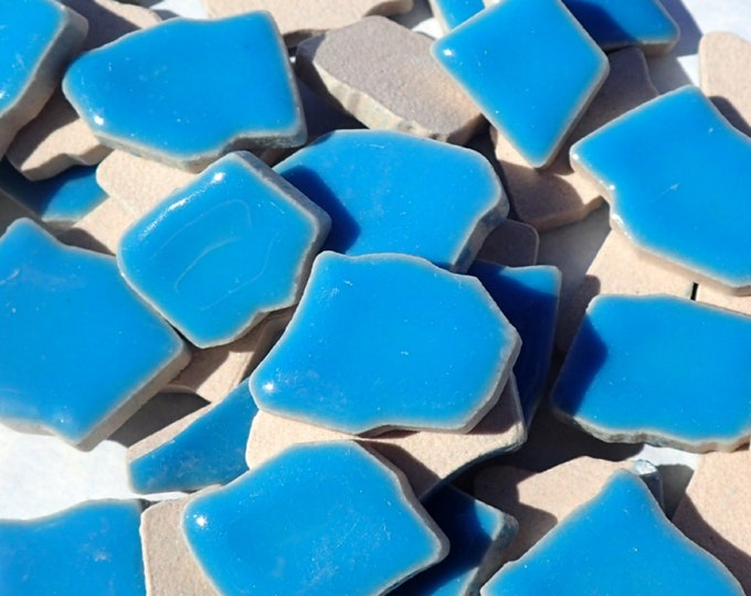 Mediterranean Blue Mosaic Ceramic Tiles - Jigsaw Puzzle Shaped Pieces - Half Pound - Thalo Blue
