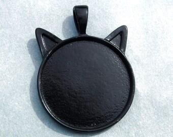 Black Cat Head Pendant Cabochon Base - 1 inch