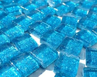 Sky Blue Tiny Glitter Tiles - 1 cm - Set of 100