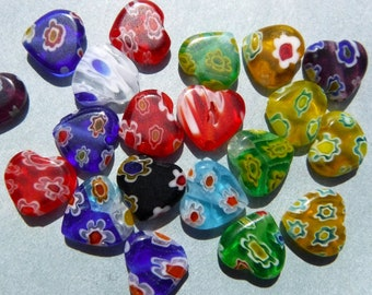 Heart Shaped Millefiori Glass Beads - Assorted Colors - 10mm - Approx 20 beads