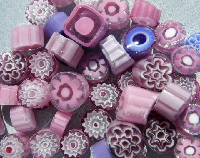 Pink and Purple Millefiori - 25 grams - Unique Mosaic Glass Tiles - Mix of Patterns