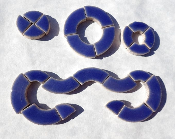 Denim Blue Bullseye Mosaic Tiles - 50g Ceramic Circle Parts in Mix of 3 Sizes in Delphinium
