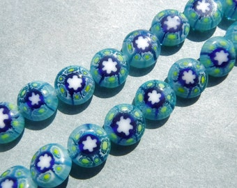 Light Blue Millefiori Glass Beads -  8mm