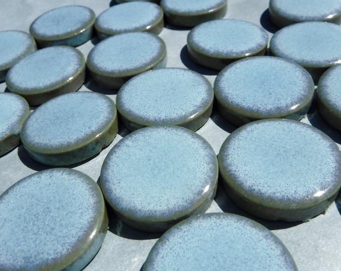 Light Blue Ceramic Tiles - 1 inch - 25 Tiles