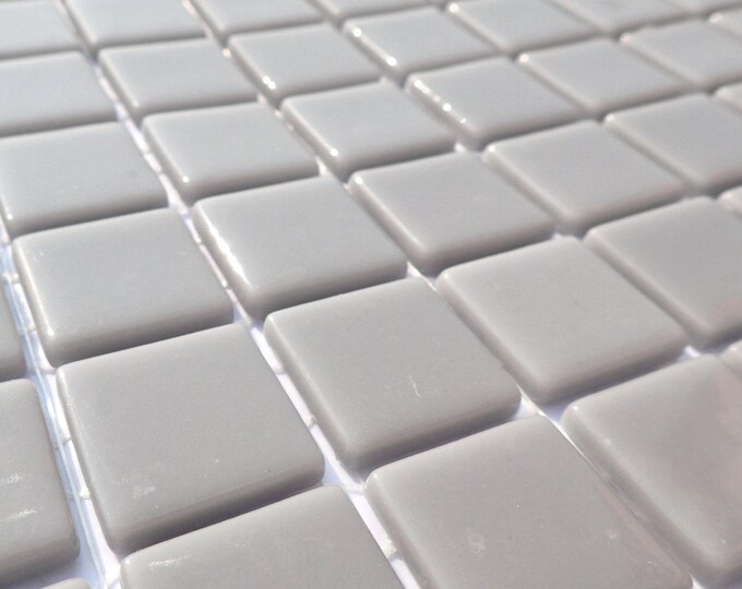 Gray Glass Mosaic Tiles Squares - 1 inch - 25 Tiles for Craft Projects and Decorations - Medium Grey Recycled
