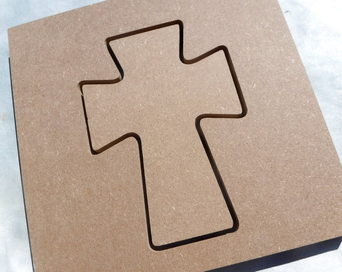 Cross and Frame Plaques -  Use as a Base for Mosaics Decoupage or Decorative Painting - 8 inch Unfinished MDF