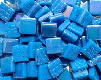Dark Lake Blue Iridescent Glass Square Mosaic Tiles - 12mm - 50g of Squares