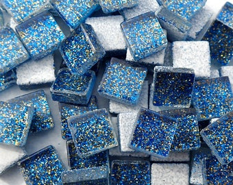 Blue and Gold Tiny Glitter Tiles - 1 cm - Use for Mosaic Jewelry Crafts - 100 Metallic Tiny Glass Tiles