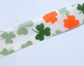 Lucky Shamrocks Washi Tape - Paper Tape Great for Scrapbooking - St Patricks Day - Green and Orange 4 Leaf Clovers Tape 15mm x 10m