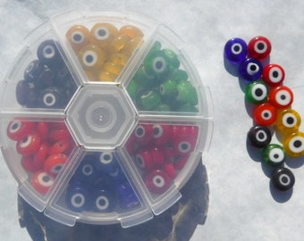 Evil Eye Glass Beads in Reusable Plastic Box  - 10mm - 6 Different Colors of Beads