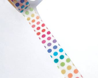 Rainbow Dot Washi Tape - Paper Tape Great for Scrapbooking Paper Crafts and Decorations and Pride Celebrations 15mm x 10m