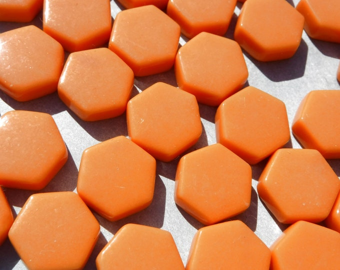 Orange Hexagon Mosaic Tiles - 15mm - 100g