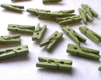 "Mini Clothespins in Green Apple - 25 - 1"" or 2.5 cm - Wooden - Great for Scrapbooking Paper Crafts Party Favors and Baby Shower Favors"