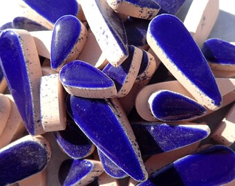 "Dark Blue Teardrop Mosaic Tiles - 50g Ceramic Petals in Mix of 2 Sizes 1/2"" and 3/5"" in Indigo Blue"