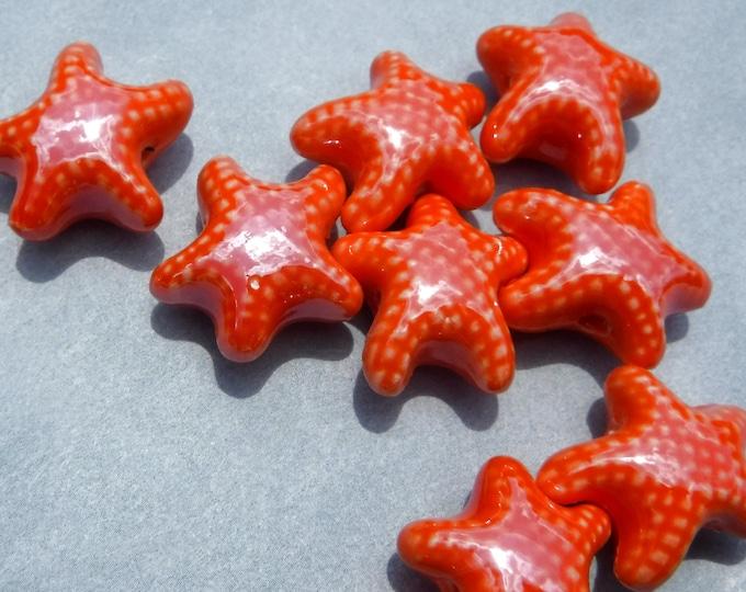Orange Starfish Beads - 10 Puffy Sea Stars