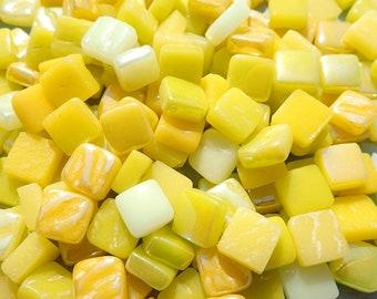 Ripe Lemons Mix Mini Glass Tiles - 8mm Square - 50 grams