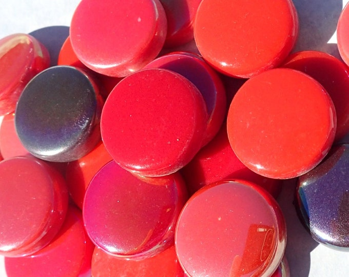 Red Mix Glass Drops Mosaic Tiles - 100 grams Vase Fillers Home Decor - 20mm Flat Marbles Mix of Gloss and Iridescent Glass Gems