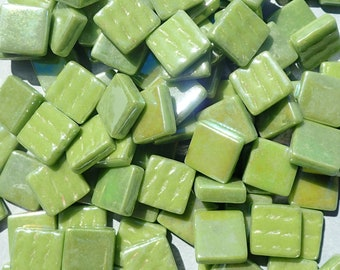 Green Iridescent Glass Square Mosaic Tiles - 12mm - Opaque Glass Solid Color - 50g of Squares in Grass Green