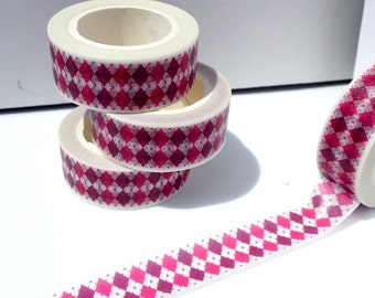Pink and Purple Diamonds Washi Tape - Paper Tape Great for Scrapbooking Paper Crafts and Decorations - Colorful Argyle Pattern 15mm x 10m