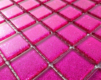 Hot Pink Glitter Tiles - 1 inch Mosaic Tiles - 25 Metallic Glass Tiles - Fuschia