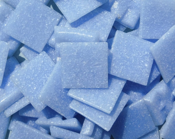 "Cloudy Blue Glass Mosaic Tiles Squares - 3/4"" - Half Pound of Light Blue Vitreous Glass Tiles for Craft Projects - Mosaic Supplies"