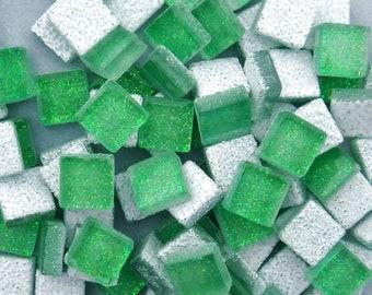 Bright Candy Green Glitter Tiles - 100 Metallic Glass 1 cm Tiles