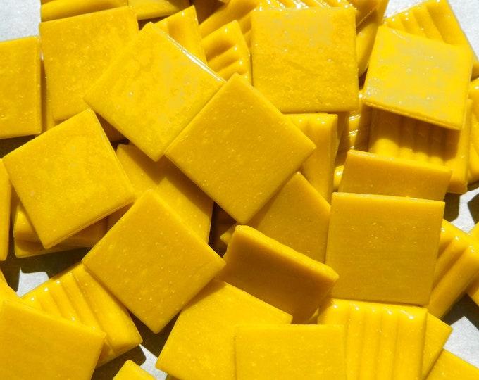 """Marigold Yellow Glass Mosaic Tiles Squares - 3/4"""" - Half Pound of Vitreous Glass Tiles"""