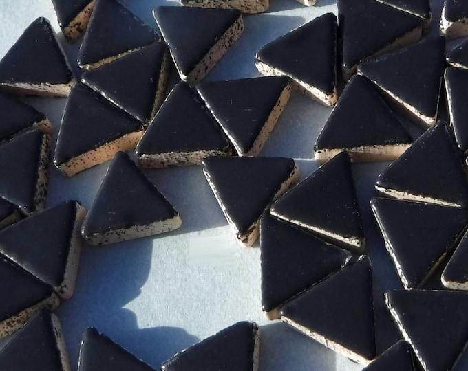 Black Mini Triangles Mosaic Tiles - 50g Ceramic - 15mm
