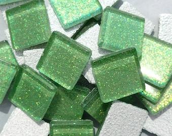 Bright Candy Green Glitter Tiles - 20mm