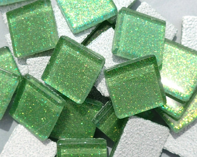 Bright Candy Green Glitter Tiles - 20mm