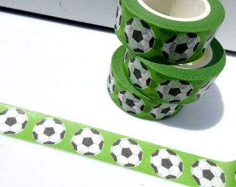 Soccer Balls Washi Tape - European Footballs Paper Tape Great for Scrapbooking Paper Crafts and Decorations - 15mm x 10m
