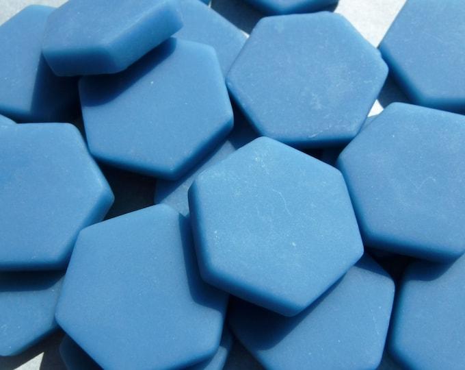 Cerulean Blue Hexagon Tiles - 25 Glass 23mm MATTE Tiles