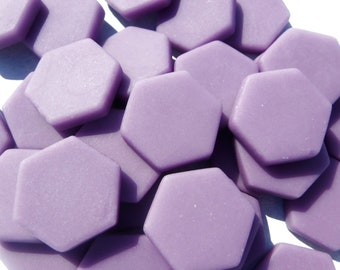 Purple Hexagon Mosaic Tiles - 25 Glass 23mm MATTE Tiles
