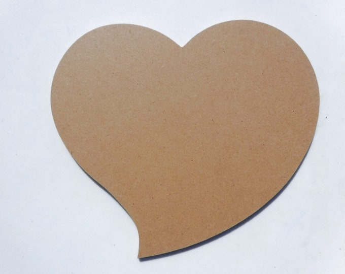 Funky Heart Plaque -  Unfinished Thin MDF