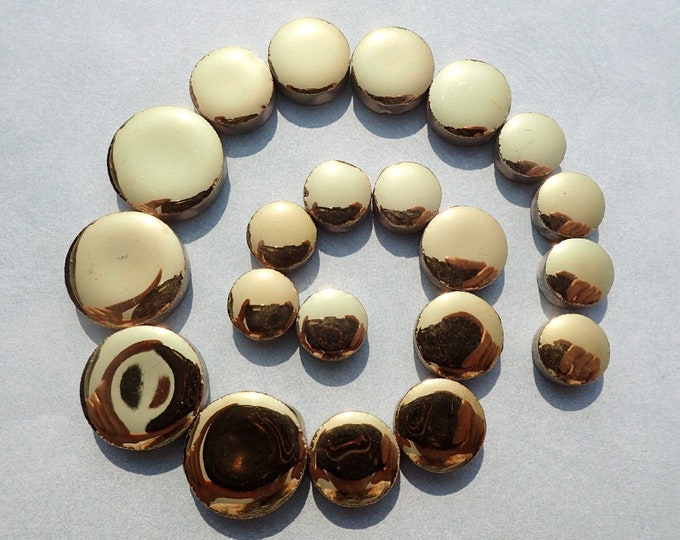 "Gold Circles Mosaic Tiles - 50g Ceramic in Mix of 3 Sizes 1/2"" and 3/4"" and 5/8"""