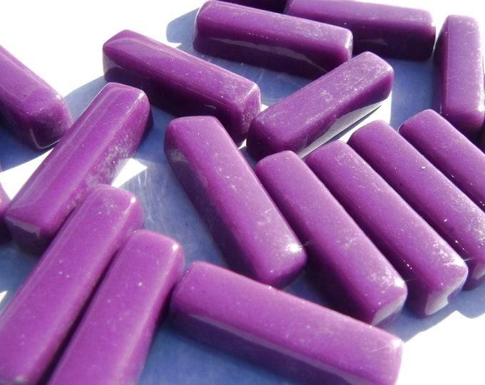 Deep Purple Rectangle Mosaic Tiles - 20mm Sticks - 50g Glass Bar Tiles