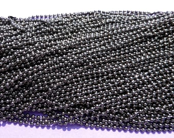 Gunmetal Ball Chain Necklaces - 24 inch - 2.4mm Diameter - Set of 10 - Gray Dark Silver Colored
