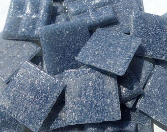 """Dusky Blue Glass Mosaic Tiles Squares - 3/4"""" - Half Pound of Dark Blue Vitreous Glass Tiles for Craft Projects and Decorations"""