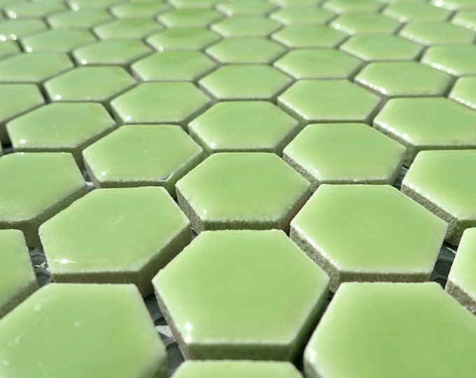 Electric Lime Green Hexagon Mosaic Tiles - 25 Large Ceramic 3/4 Inch Honeycomb Tiles