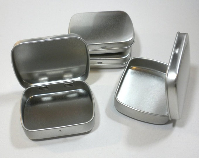 Small Metal Tins with Hinged Top and Rounded Corners - Use for your Pendants Magnets and other Gifts Favors and Goodies - 50