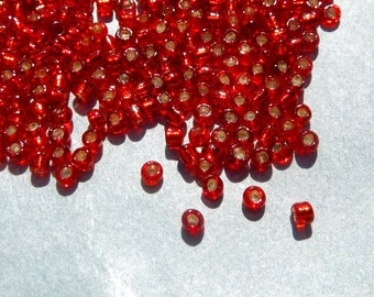 Red Silver Lined Glass Seed Beads - 2mm - 20g - 1500 beads