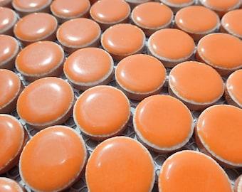 Orange Ceramic Tiles - Penny Rounds - .75 inch - 25 Tiles