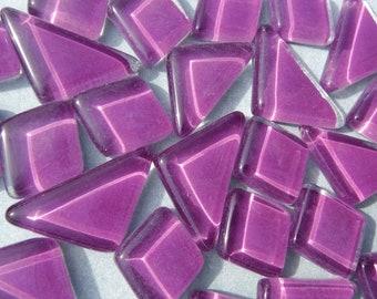 Violet Glass Puzzle Tiles - Assorted Shapes - 100 grams