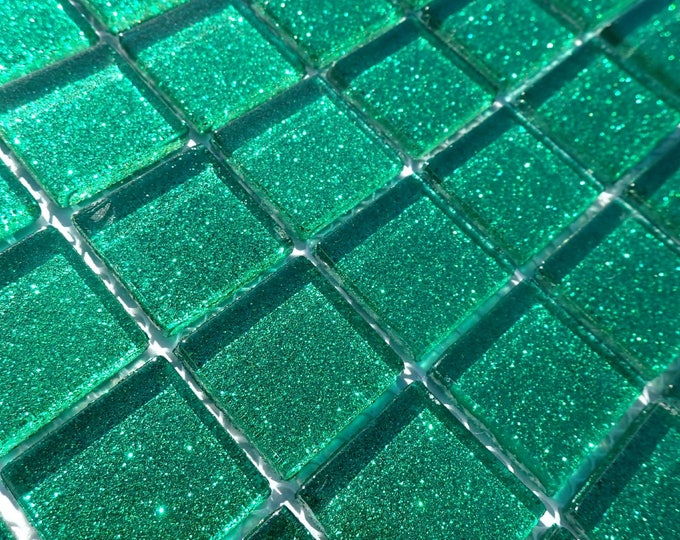 Emerald Green Glitter Tiles - 1 inch Mosaic Tiles - 25 Metallic Glass Tiles