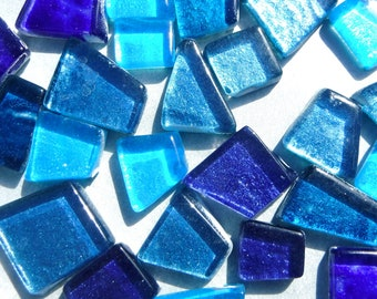 Atlantis Blues Glass Tiles - Metallic Foil - Assorted Shapes - 50 grams