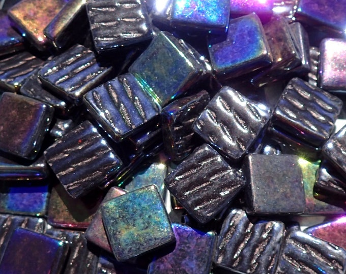 Black Iridescent Glass Square Mosaic Tiles - 12mm Opaque Glass Solid Color - 50g