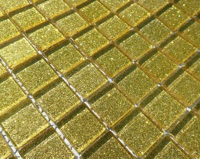 Gold Glitter Tiles - 1 inch Mosaic Tiles - 25 Metallic Glass Tiles